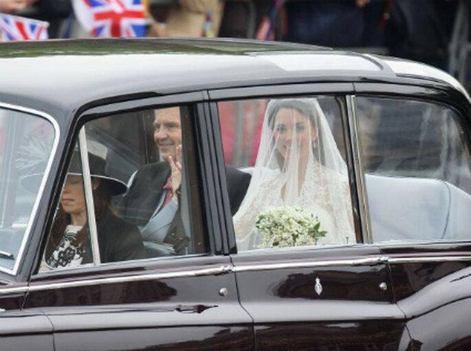 Kate en el coche minutos antes de su boda