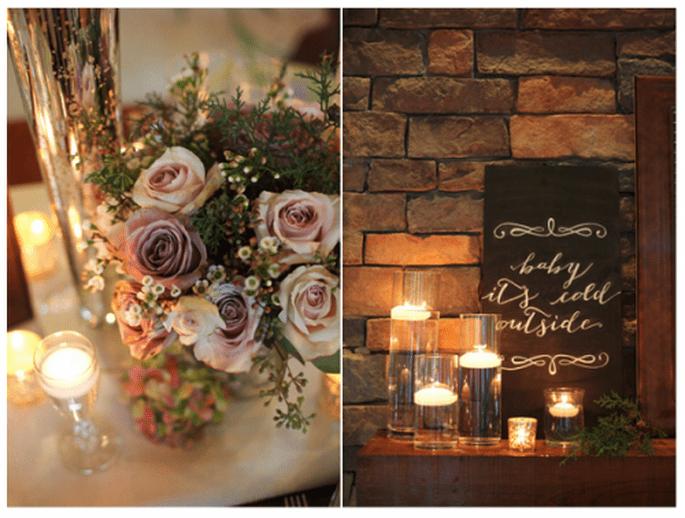 Décoration de tables de mariage inspirée par Noel avec des fleurs et des bougies - Photo Live View Photography