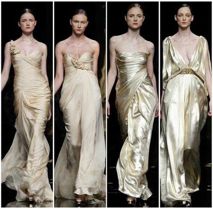 Los vestidos de novia dorados de Rosa Clará 2012. Foto: Rosa Clará