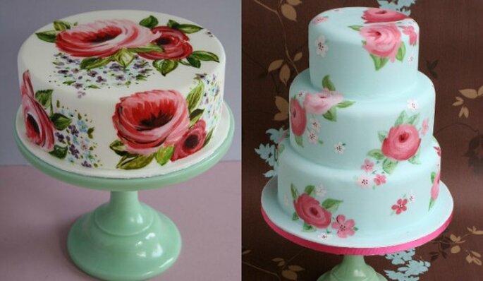 Pasteles de boda pintados a mano - Cotton and Crumbs y Flutterby Bakery