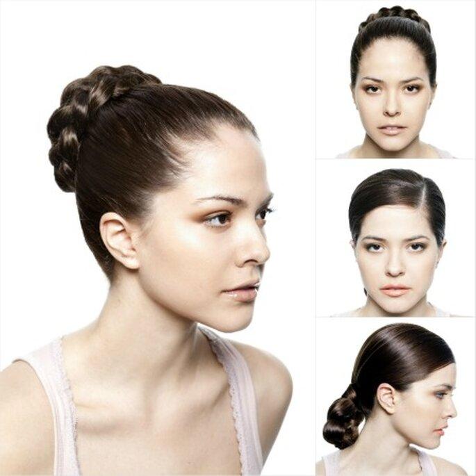 Ideas para llevar el cabello recogido, ideal para caras redondas. Fotos: Ana torres y Charo Peres