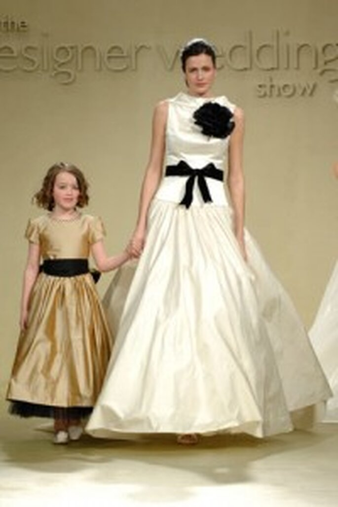 Bridal and bridesmaid dresses with belts by Stuart Parvin