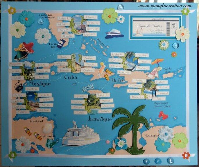 Plan de table sur le thème de mariage Caraïbes - Vinnylu Création