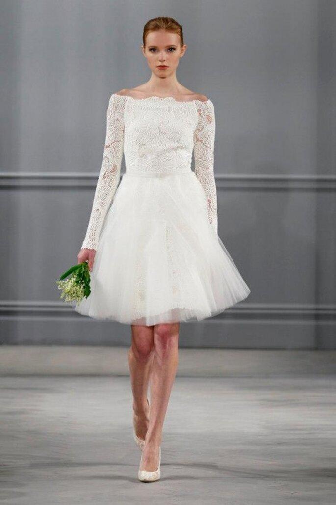 Vestido de novia 2014 con mangas largas y falda corta amplia confeccionada con tul - Monique Lhuillier