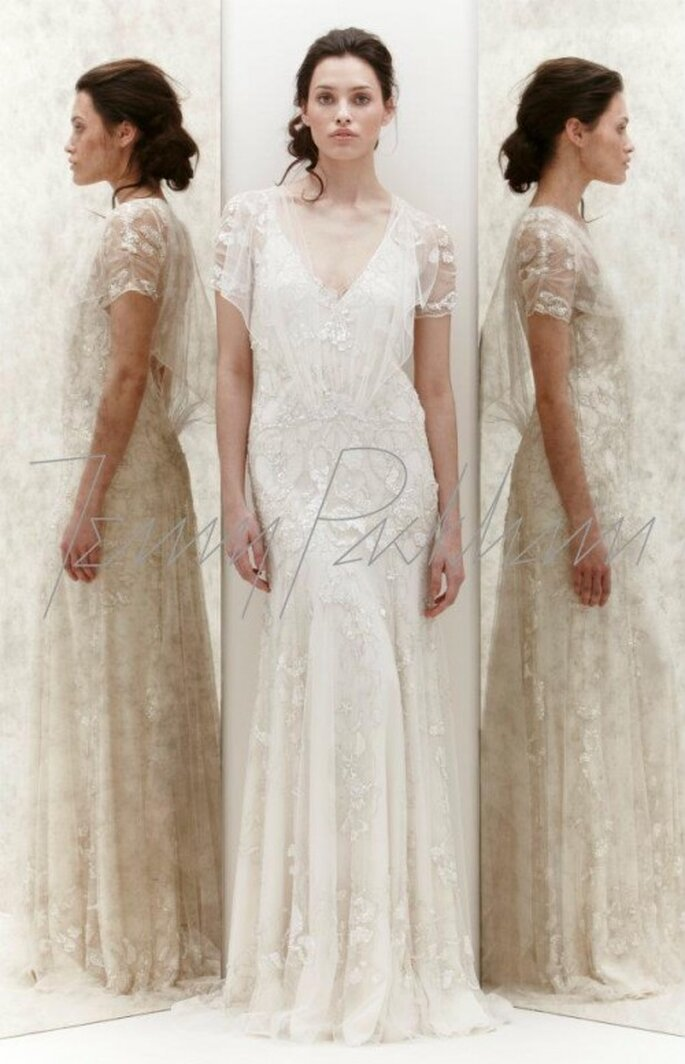 Vestido de novia con encaje y mangas - Foto Jenny Packham