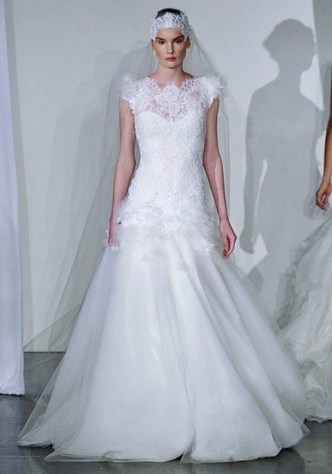 Pizzo e chiffon per questo abito Marchesa Fall 2013 Bridal Collection. Foto: www.marchesa.com