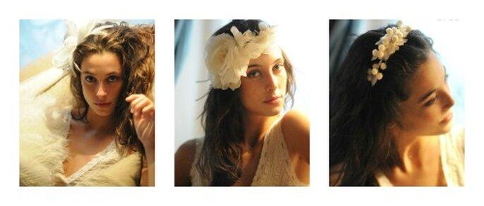 Fermagli di fiori nei capelli rendono la sposa dolce ed elegante. Foto: cherubina.com