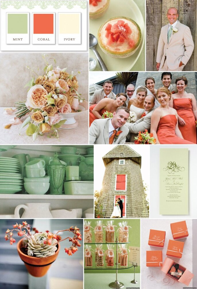 Coral, marfim e verde menta - Southern Weddings Magazine