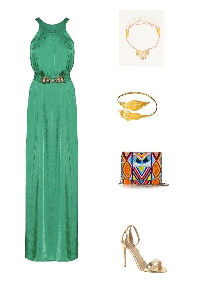 look invitada boda noche vestido maxi verde