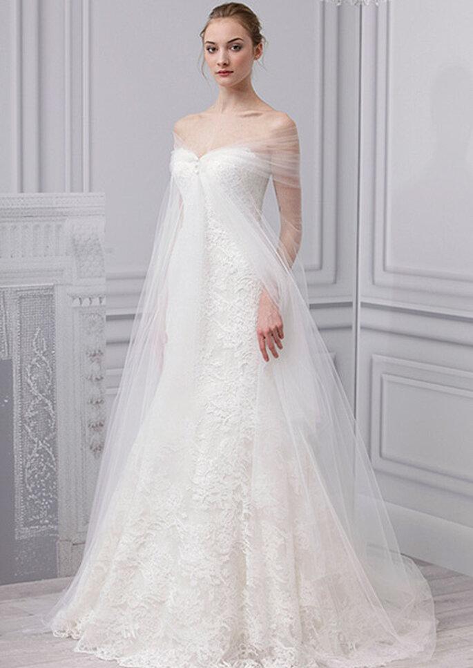 Vestido de novia de corte imperio y tul. Foto: Monique Lhuillier, colección 2013