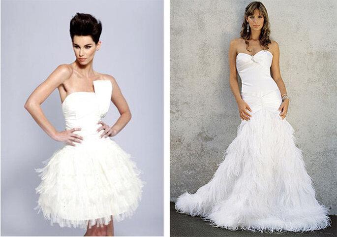 Robe de mariée courte et longue à plumes
