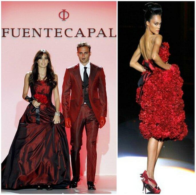 Dos propuestas muy originales: novios a juego en granate, de Fuentecapala 2012, y vestido de flores rojas, de Hannibal Laguna 2011