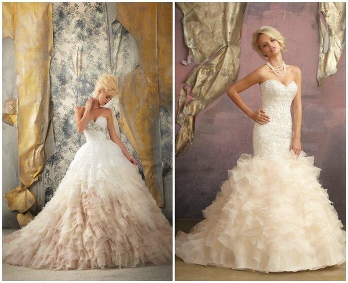 Bello il color pesca per questi due modelli romantici. Mori Lee 2013 Bridal Collection. Foto: www.morilee.com