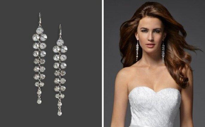 Aretes para novias de diamantes en cascada - Foto: Bebe Bridal