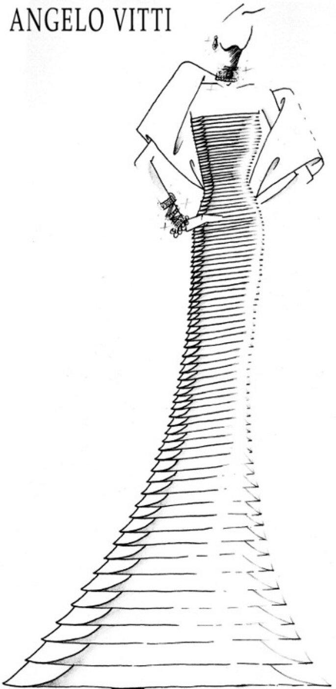 L'esclusivo bozzetto dell'abito realizzato da Angelo Vitti per Patricia Ruspoli. Foto: Angelo Vitti