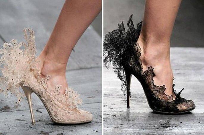 Zapatos de novia 2013 en color nude y negro - Foto Valentino
