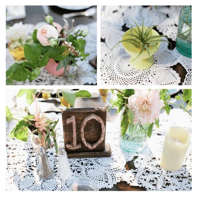 Decoración de boda con tarros de cristal - Foto Ashley Rose