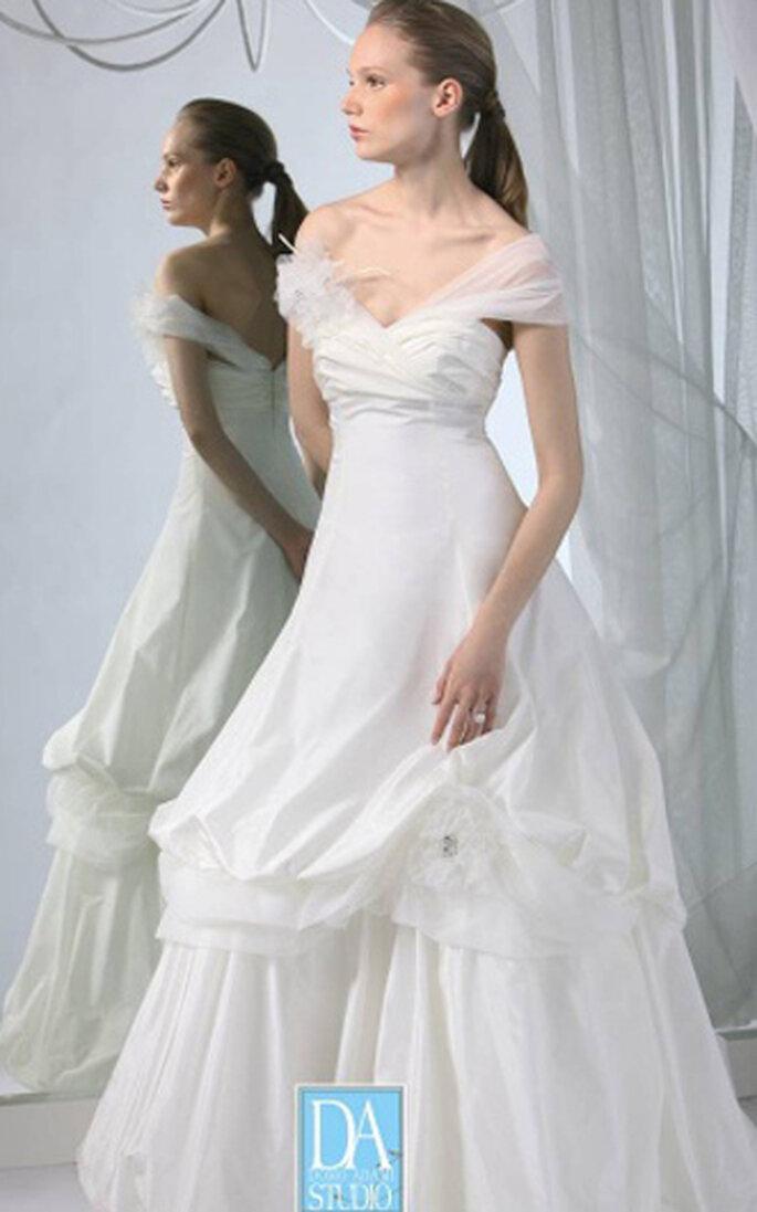 Collezione D.A Studio - abito stile principessa, con spalline morbide e arricciatura nella gonna