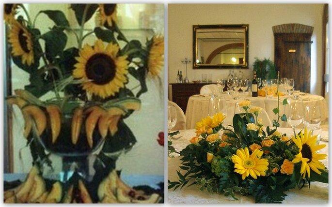 Esempi di decorazione dei tavoli: semplici bouquet o una composizione di girasoli e melone