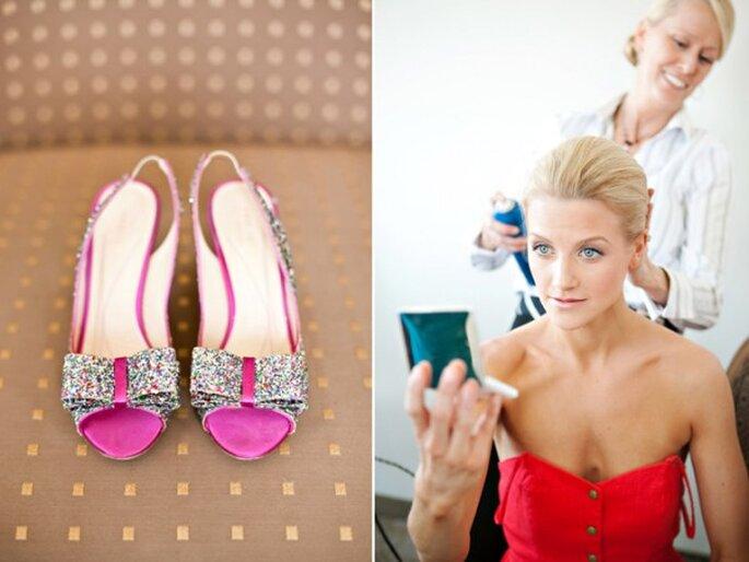 Zapatos de novia con aplicaciones y brillos - Foto Melissa Tuck