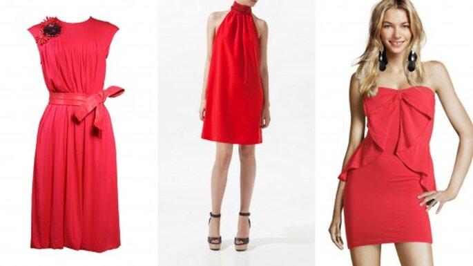 Vestidos cortos y juveniles para bodas de día. Fotos: Las Oreiro - Zara - H&M