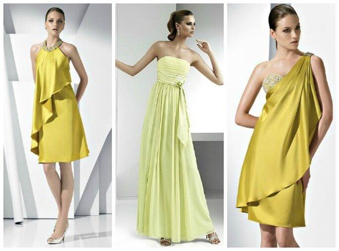 3 modelli da cerimonia in giallo oro e giallo pallido. Pronovias Fiesta Collezione 2012 Foto: www.pronovias.com