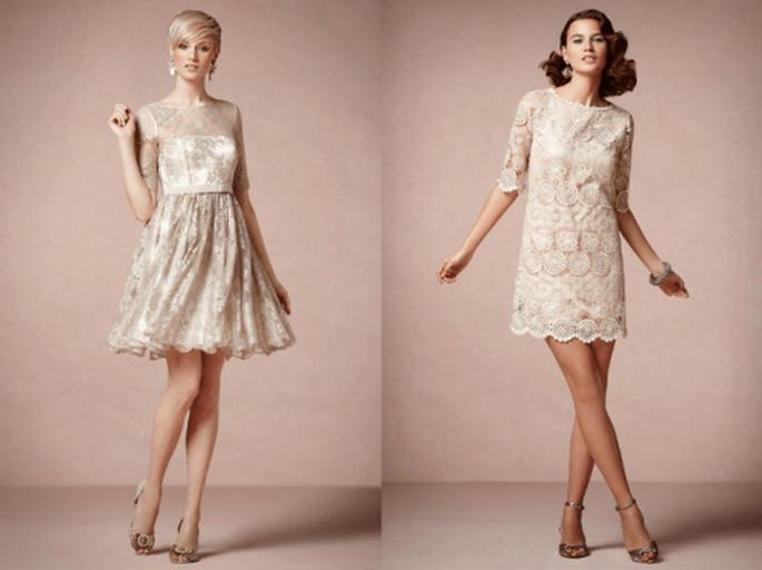 Vestidos cortos en color nude para damas de boda - Foto BHLDN