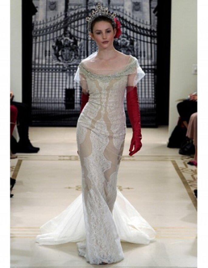 Vestido de novia corte columna de encaje con escote barco