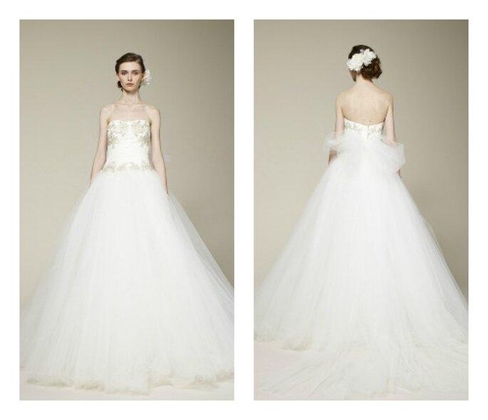 Voluminosa gonna in tulle per un abito da sposa principesco. Marchesa Collezione 2013 Foto www.marchesa.com