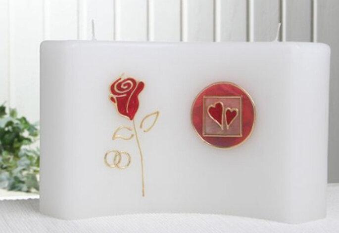 Hochzeitskerze mit 2 Dochten von candlecorner.de