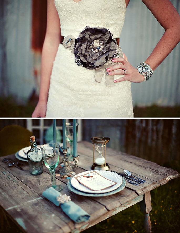Decoración de boda estilo bohemian chic - Foto Courtney Dellafiora