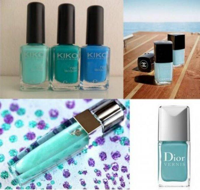 Vernis Kiko, Chanel Le Vernis Riva y Dior Vernis Croisette. Lipgloss Color Fever Green Petal Lancome