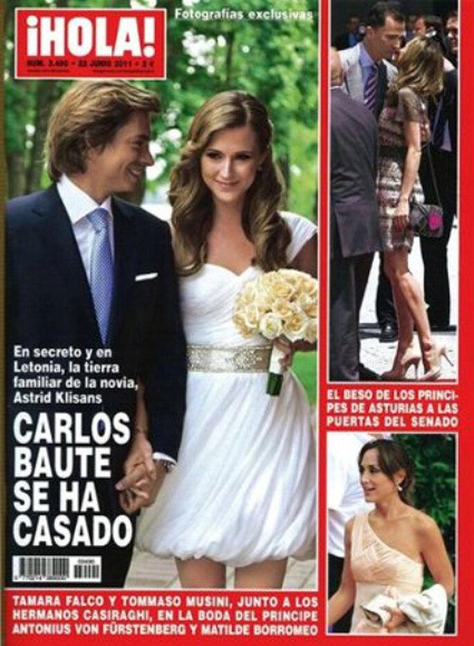 Portada de la revista ¡Hola!, donde se publica el enlace de la pareja