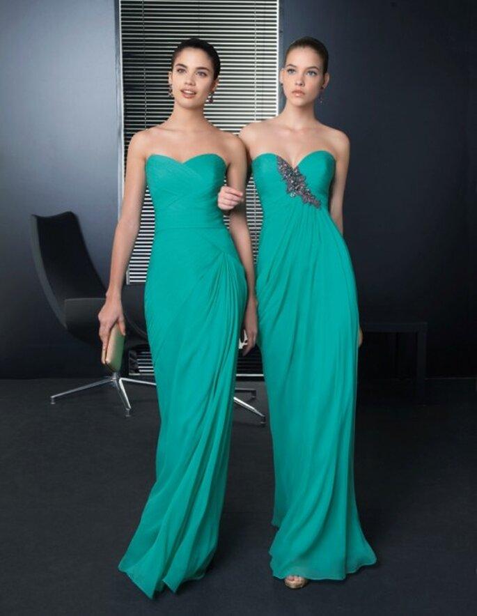 vestidos de fiesta elegantes en color verde esmeralda con escote strapless y pedrería - Foto Rosa Clará