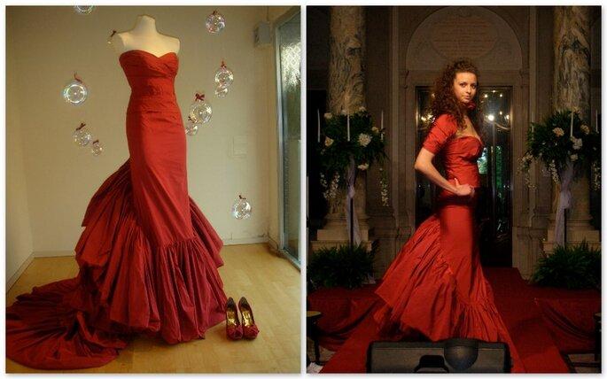 Vestido novia rojo de Lelia