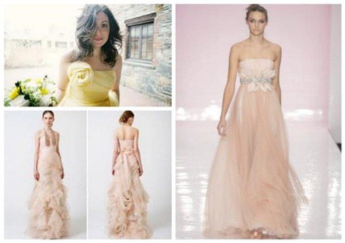 Vestidos de Noiva cor-de-rosa e amarelo