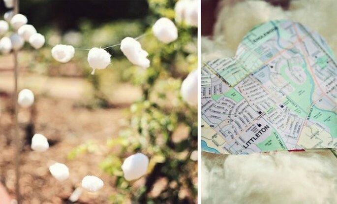 Une guirlande de coton comme déco pour votre mariage. Source photos : http://www.closertolovephotography.com/