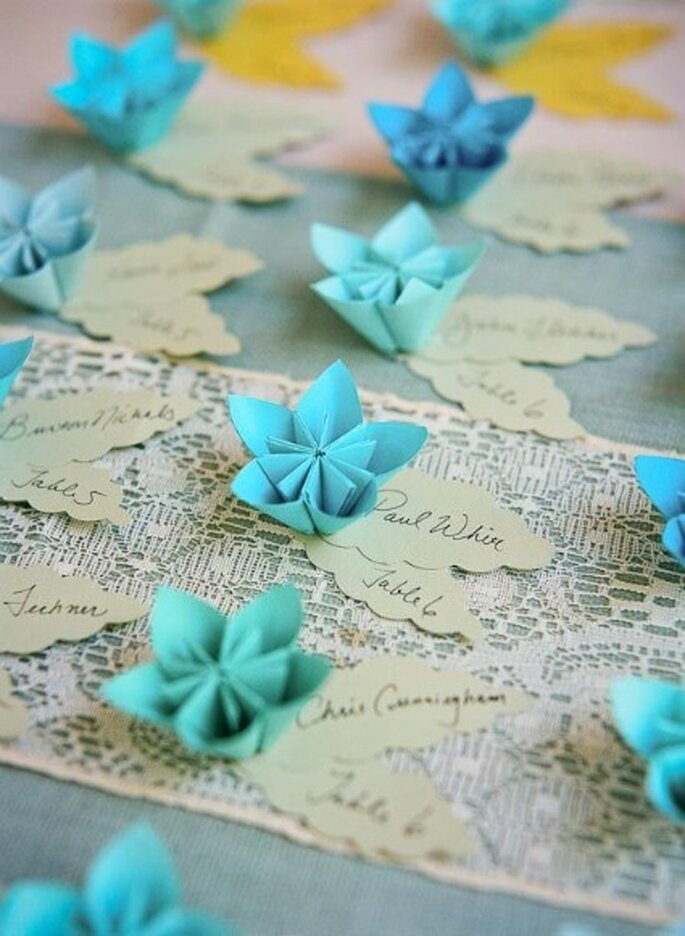 Marque-place origami - Credits Q Weddings Photography