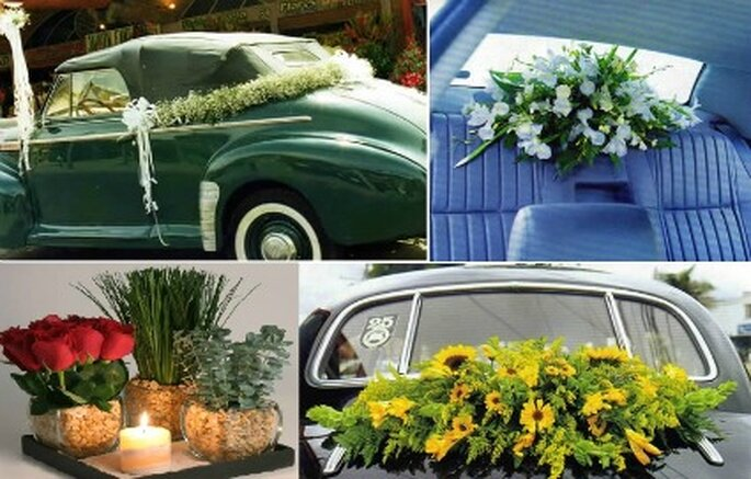 Decoración  carro de novios   foto: Flores Tequendama