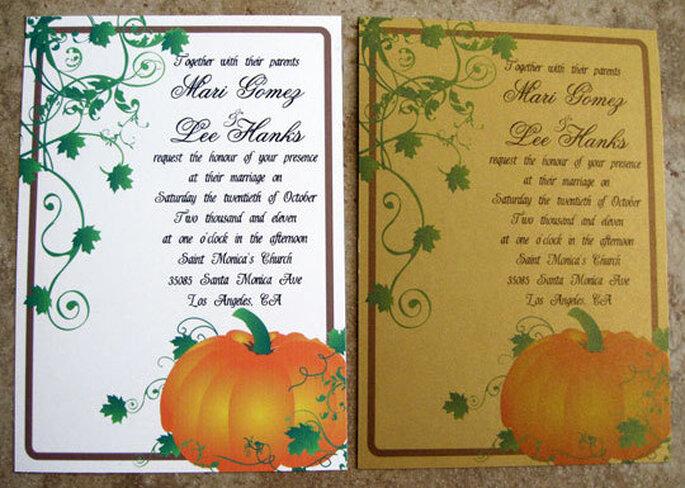 Les citrouilles, un élément phare pour la décoration de mariage sur le thème d'Halloween. Photo: www.etsy.com