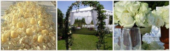 Decoración en blanco para una boda al aire libre. Ambrosia Eventos y Servicios Villa de Leyva
