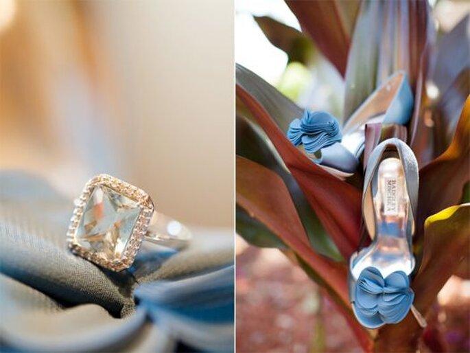 Les couleurs froides comme le bleu vont très bien avec le thème du mariage. Photo: KT Merry Photography