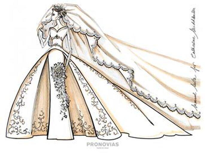Propuesta 2 para Kate Middleton, diseñado por Manuel Mota para Pronovias