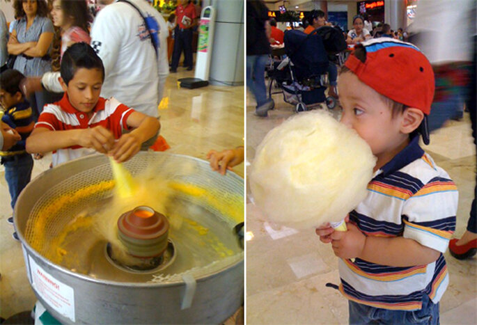 Niños disfrutando de algodones de azúcar que ellos hicieron - Foto: Gule Guli