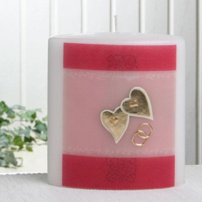 Hochzeitskerze mit Herz-und Ring-Symbolen von candlecorner.de