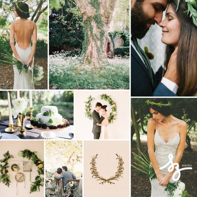 Collage de inspiración para una boda decorada con guirnaldas - Foto Bridalmusings.com y ryleehitchnerblog.com - Diseño de Raisa Torres para SZ Eventos