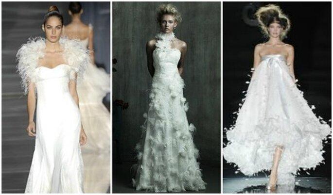 Vestidos de novia con plumas. Manuel Mota, Allure Bridal y Hannibal Laguna