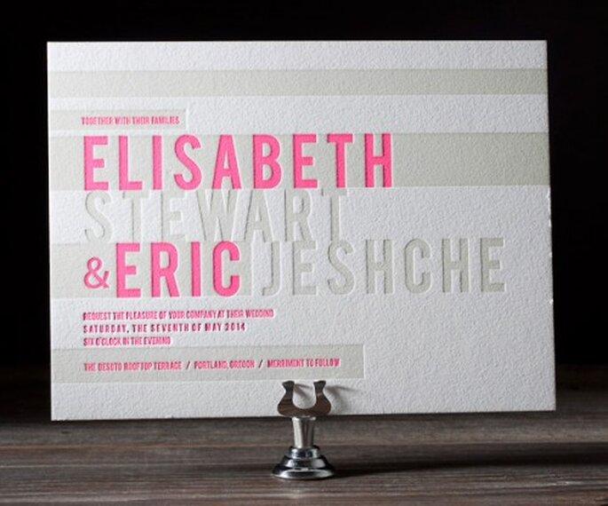 Invitaciones de boda con letras grabadas de moda en 2013 - Foto Bella Figura
