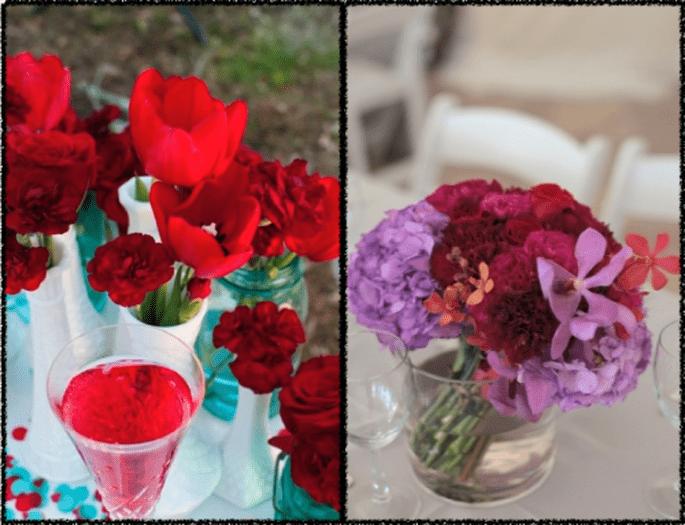 Decoración de boda con claveles - Foto Elaine Palladino y Caroline and Evan Photography