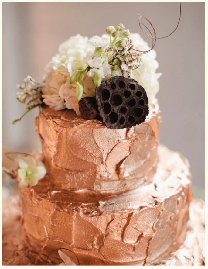 Pastel de bodas en color rose champagne - Foto Jillian Zamora Photography